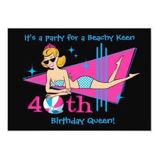Beachy Keen 40th Birthday Custom Invitations