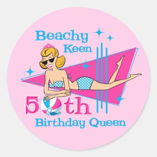 Beachy Keen 50th Birthday Round Sticker