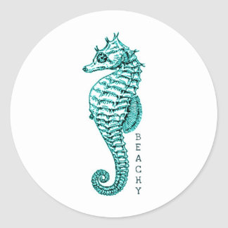 BEACHY SEAHORSE PRINT IN TEAL CLASSIC ROUND STICKER