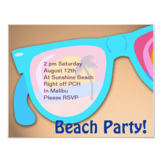 Beachy Shades Beach Party Time 11 Cm X 14 Cm Invitation Card