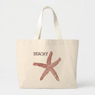 BEACHY vintage starfish coral print Large Tote Bag