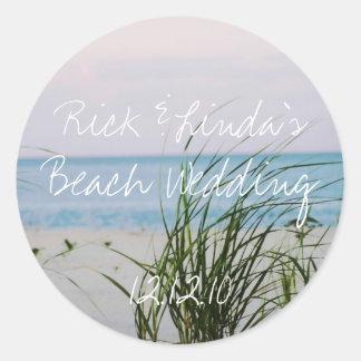 Beachy Wedding Round Sticker