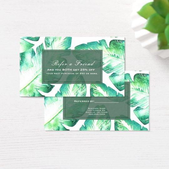 Beachy White Green Tropical Leaves Refer a Friend