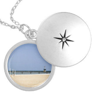 Beacon Light of Lake Michigan Shores Round Locket Necklace