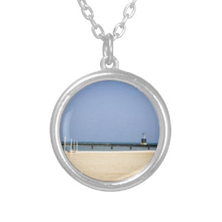 Beacon Light of Lake Michigan Shores Round Pendant Necklace