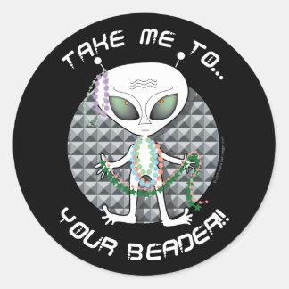 Bead Alien Round Sticker