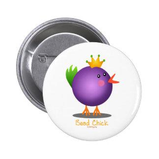 Bead Chick - Purple 6 Cm Round Badge