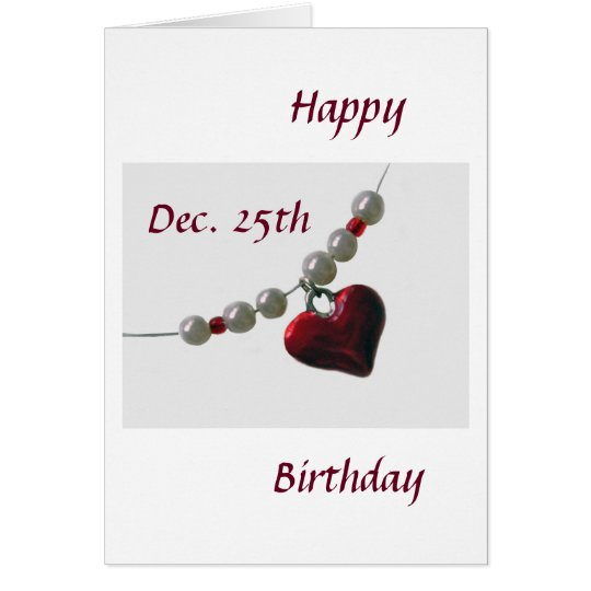 Bead Heart Birthday Christmas Card