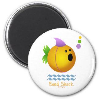 Bead Shark - Gold 6 Cm Round Magnet