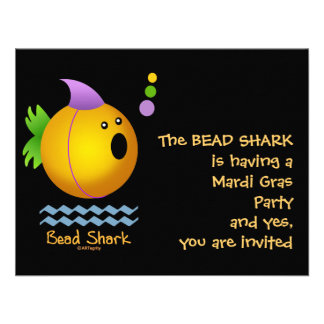 Bead Shark - Gold Personalized Invitations