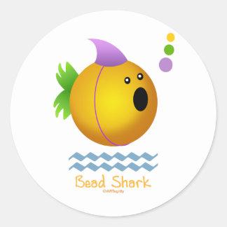 Bead Shark - Gold Round Sticker