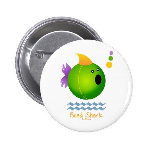 Bead Shark - Green Pinback Button