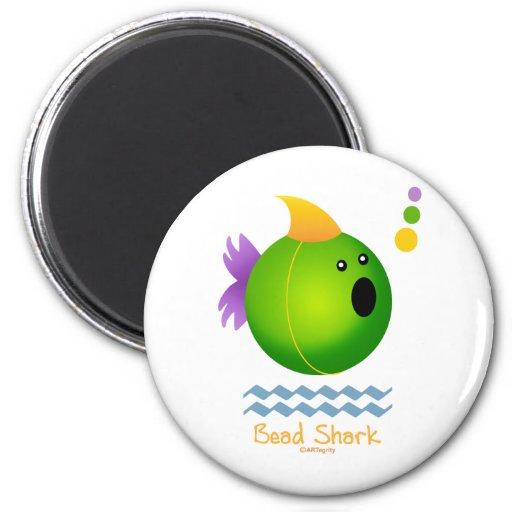 Bead Shark - Green Refrigerator Magnets