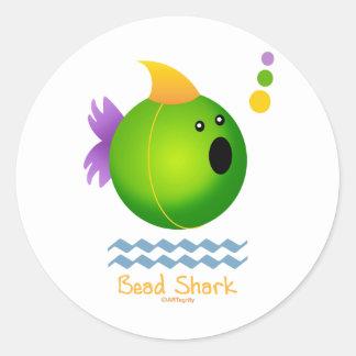Bead Shark - Green Round Sticker