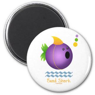 Bead Shark - Purple 6 Cm Round Magnet