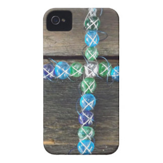 Beaded cross on wood iPhone 4 Case-Mate case