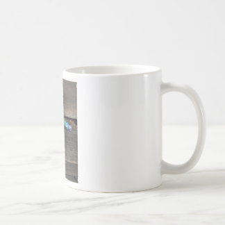 Beaded cross on wood basic white mug