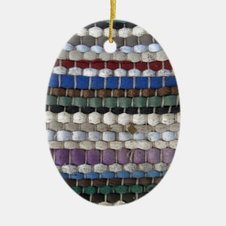 Beaded fabric pattern ceramic oval decoration