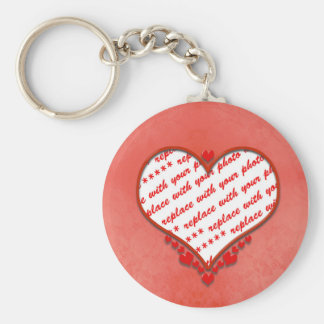 Beaded Heart Photo Frame Basic Round Button Key Ring