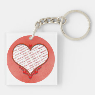 Beaded Heart Photo Frame Double-Sided Square Acrylic Key Ring