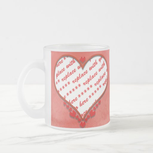 Beaded Heart Photo Frame Coffee Mugs