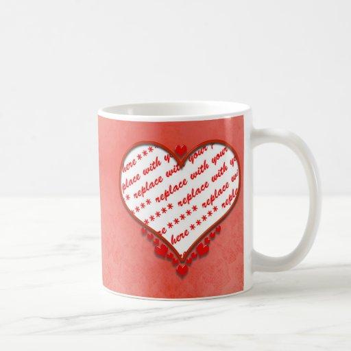 Beaded Heart Photo Frame Mugs
