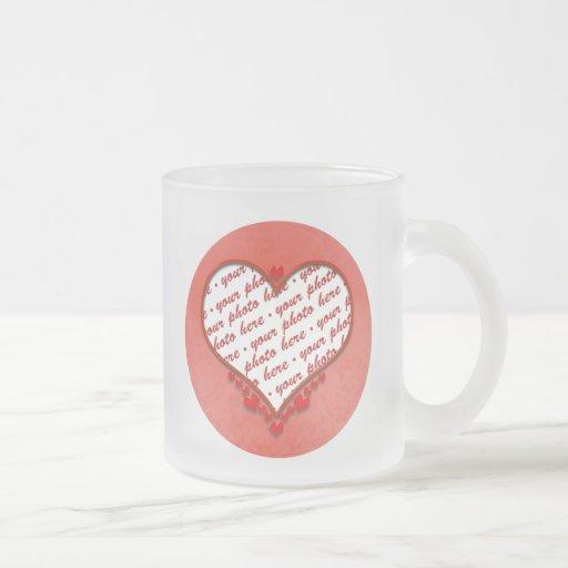 Beaded Heart Photo Frame Coffee Mug