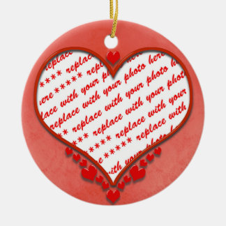 Beaded Heart Photo Frame Round Ceramic Decoration