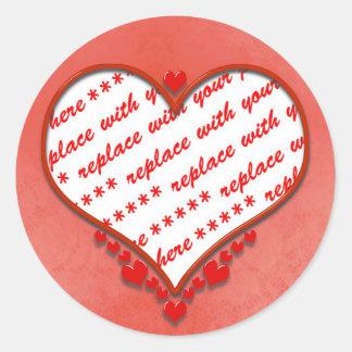 Beaded Heart Photo Frame Round Sticker