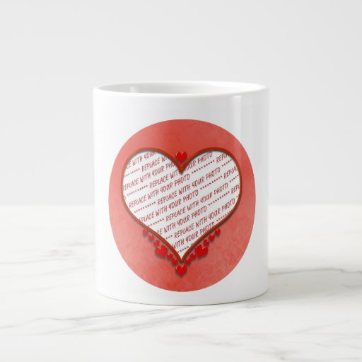 Beaded Heart Photo Frame Jumbo Mugs