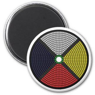 Beaded Medicine Wheel 6 Cm Round Magnet