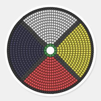 Beaded Medicine Wheel Round Sticker