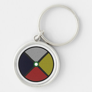 Beaded Medicine Wheel Silver-Colored Round Key Ring