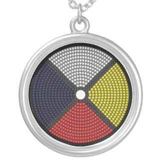 Beaded Medicine Wheel Silver Plated Necklace