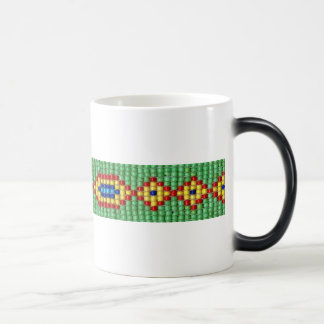 Beaded Pattern of Green Yellow Red Blue Seed Beads Morphing Mug