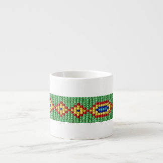Beaded Pattern of Green Yellow Red Blue Seed Beads Espresso Mug