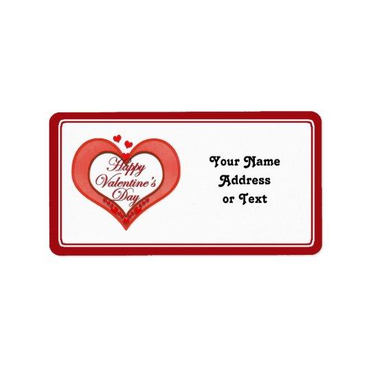 Beaded Red Heart Valentine Address Label