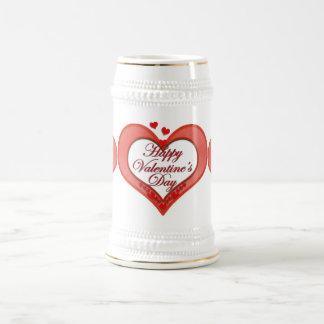 Beaded Red Heart Valentine Beer Stein