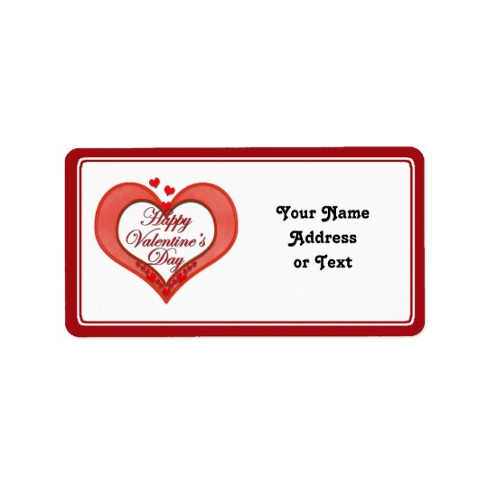 Beaded Red Heart Valentine Label