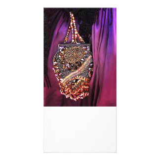 Beaded Victorian Purse Personalised Photo Card