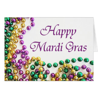Beads Happy Mardi Gras Cards