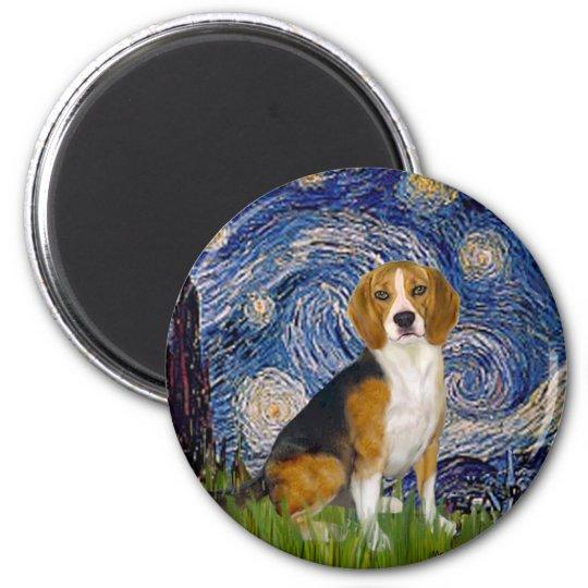 Beagle 7 - Starry Night 6 Cm Round Magnet