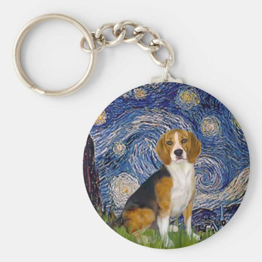 Beagle 7 - Starry Night Basic Round Button Key Ring