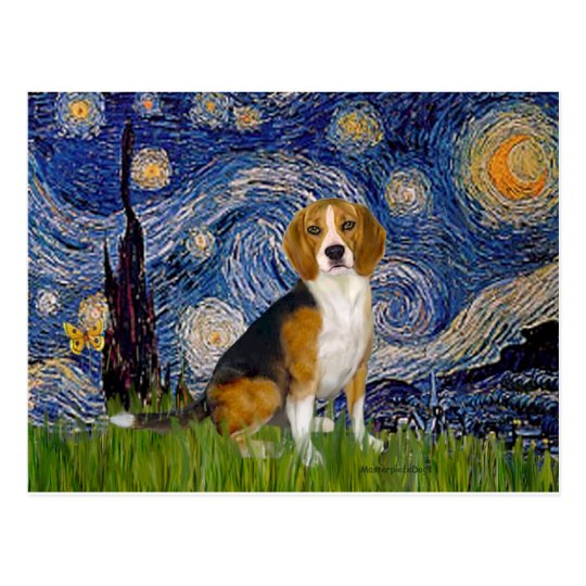 Beagle 7 - Starry Night Postcard