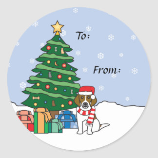 Beagle and Christmas Tree Classic Round Sticker