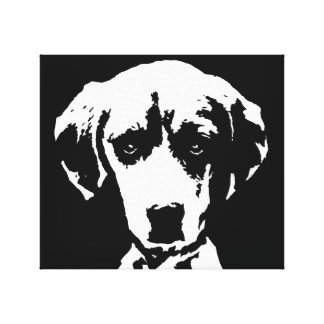 Beagle Black & White Wrapped Canvas Print Wall Art