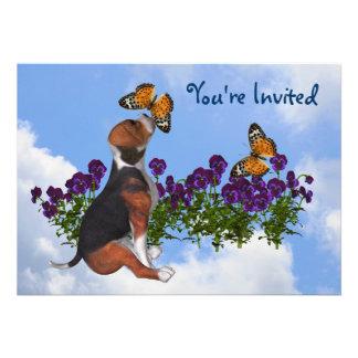 Beagle Butterflies Flowers Cute Animal Invitation