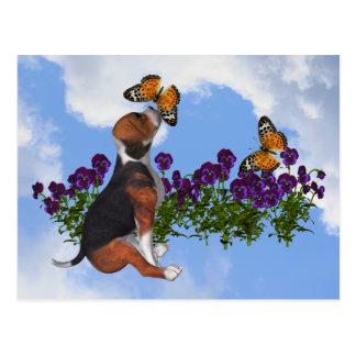 Beagle Butterflies Pansies Cute Dog Postcard