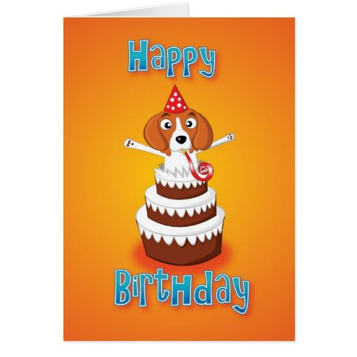 beagle - cake - happy birthday greeting cards