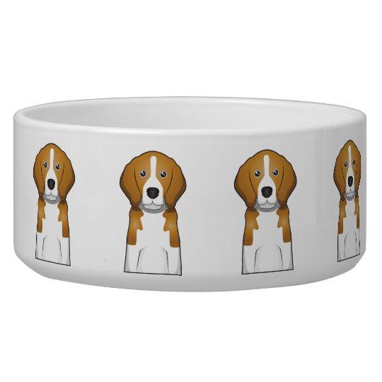 Beagle Cartoon Portrait Pet Water Bowl